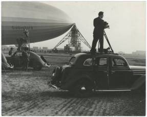 Hindenburg in 1936, with reporters and film crew.